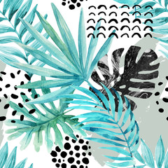 Aluminium Prints Graphic Prints Watercolor graphical illustration: tropical leaves, doodle elements on grunge background.