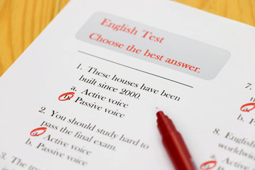 English test on desk