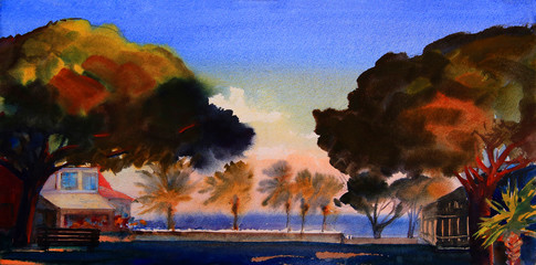 Watercolor painting of mediterranean landscape