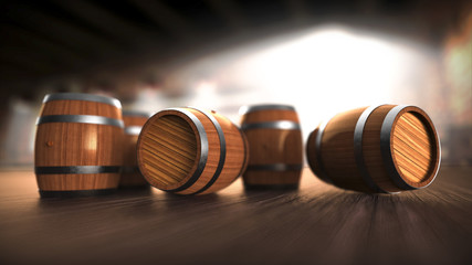 Barrels on the bar, beer, wine, rum, whisky, brendy and cognac wooden barrels.