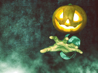 Man with Halloween pumpkin on his head with grunge background. Hand Forward.