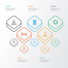 Traveling Outline Icons Set. Collection Of Tram, Plane, Sunny And Other Elements. Also Includes Symbols Such As Tent, Hate, Building.