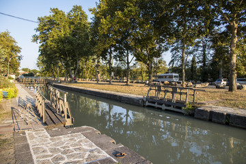 One of the locks in Beziers, France, that helps the Canal du Midi to cross over the river Orb. A world heritage site since 1996