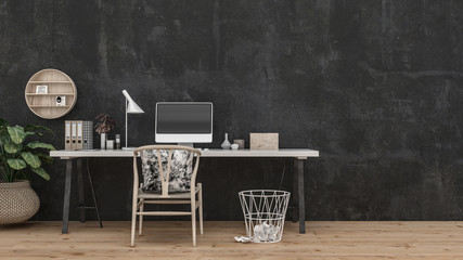 Wide table and chair in front of black wall