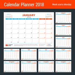 Calendar planner for 2018 year. Design print template. Week starts on Monday. Stationery design. Vector illustration. Set of 12 months