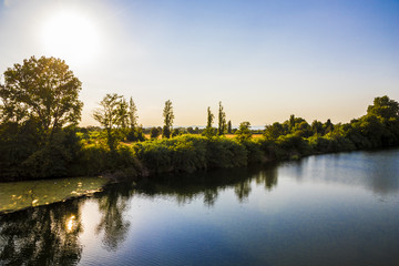 The river Orb at sunset in Beziers, Southern France