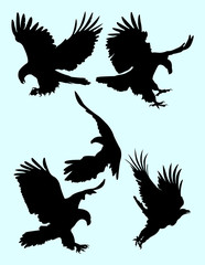 The eagle silhouette set. Good use for symbol, logo, web icon, mascot, sign, or any design you want.
