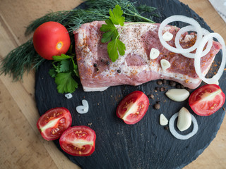 meat with vegetables for grilling