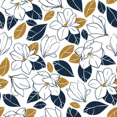 Vector trendy seamless pattern with botanical elements. Magnolia flowers,buds and leaves in deep blue and mustard colors.