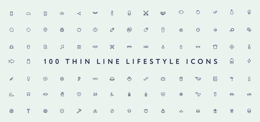 Big Set of Thin Line Stroke Miscellaneous Lifestyle Vector Icons. Anatomy, burger, book, handshake, car, lemon, lipstick, hipster, fashion, mascara, drink, bible, halloween.