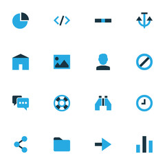 Interface Colorful Icons Set. Collection Of House, Dossier, Tag And Other Elements. Also Includes Symbols Such As Dossier, Forbidden, Columns.