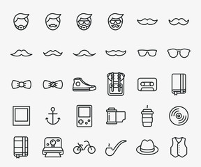 Hipster Style Flat Line Stroke Icon Pictogram Symbol Illustration. Mustache, Sunglasses, Sneaker, Bow Tie, Backpack, Coffee, Vinyl, Camera, Hat, Waistcoat, Bicycle.