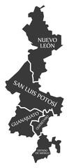 Nuevo Leon - San Luis Potosi - Guanajuato - Queretaro - Estado de Mexico Map Mexico illustration