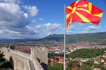 The Macedonian flag on the Samuel fortress Ohrid Macedonia
