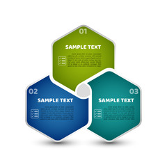 Circle infographic template with 3 steps. Colorful hexagones with number, list icon and sample text. For presentation and design concept. Vector illustration.