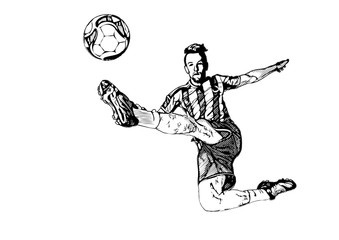 Soccer Player kicking the Ball on white Background