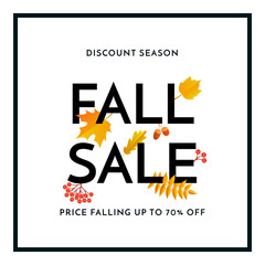 Autumn fall gold sale poster or September shopping promo banner autumnal discount