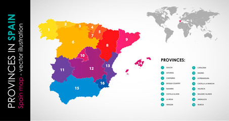 Vector map of Spain and provinces COLOR