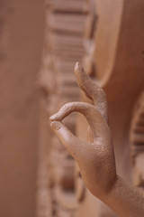close up of Buddha Hand stone sculpture in Thailand Temple