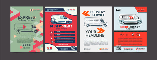 Set of Express delivery service brochure flyer design layout template. Fast delivery and quality service transportation magazine cover, mockup flyer. Layout in A4 size. Vector illustration.