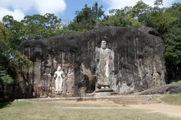 Buduruwagala buddhas in Sri Lanka