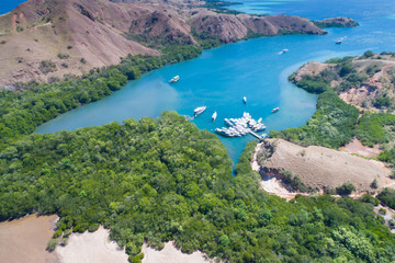 Aerial view, Komodo Island, Komodo National Park, Indonesia, Indian Ocean, Asia