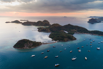 Aerial view, Komodo Island, Komodo National Park, Indonesia, Indian Ocean, Asia