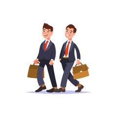 Couple businessman in businesswear walk together