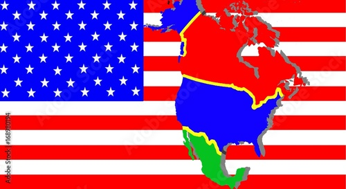 NAFTA - American trade agreement - A map of Mexico, the USA ...