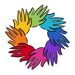 Multi coloured circle of hands showing unity