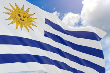 3D rendering of Uruguay flag waving on blue sky background
