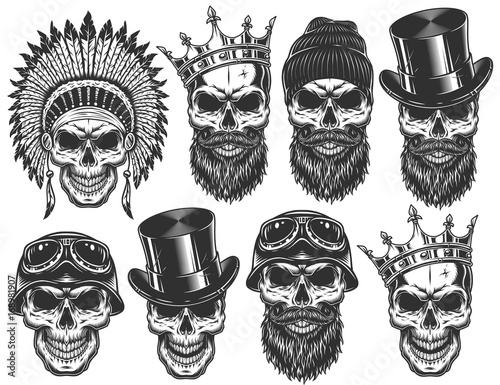 Set Of Different Skull Characters With Hats And Accessories Monochrome Style Isolated On
