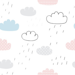 Today is rainy day. Seamless vector pattern with clouds