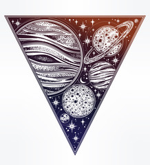 Decorative planets in solar system in triangle.