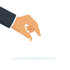 Picking hand. Gesture with a man's hand in a suit close-up. Take an object, subject, element. Lift up. Vector illustration flat design. Isolated on white background. Pick up something.