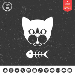 Cat with fish skeleton. Icon, logo, symbol, protect sign. Meals for pet