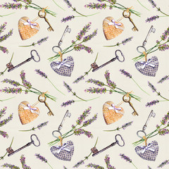 Rustic pattern - lavender flowers, retro keys, textile hearts. Seamless wallpaper for interior design, country style of Provence. Watercolor
