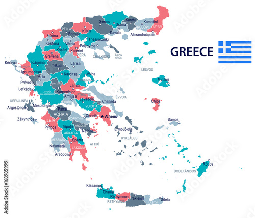 Greece - map and flag illustration\