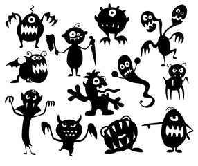 Set of Cute Halloween Monster Silhouettes