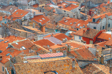 Top view on houses with red roofs of the historic center of Rovinj town in Croatia, Europe.