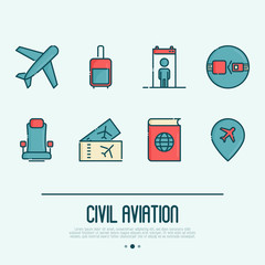 Civil aviation thin line icons related to airport and tourism: airplane, luggage, metal detector, chair, tickets, passport. Vector illustration.
