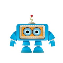 vector funny cartoon blue robot character