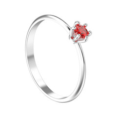 3D illustration isolated white gold or silver traditional solitaire engagement diamond ring with red ruby