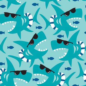seamless shark pattern vector illustration