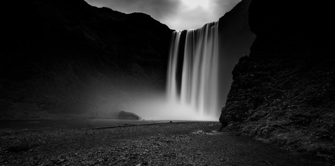Black and white picture of Skogafoss, one of the most stunning waterfalls in Iceland