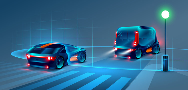 Autonomous smart bus and car rides through the night city. Smart bus scans the road and goes without a driver. Smart bus recognize road signs, lane markings and pedestrians at the crosswalk. VECTOR