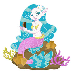 Vector illustration of a mermaid sitting on a rock combing her hair