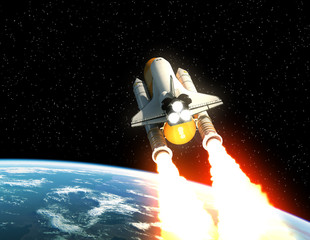 Fototapete - Space Shuttle Launch Above The Planet Earth