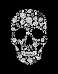 Vintage embroidered flower skull. Muertos Dead Day Fashion design decoration print. White lace marigold daisy chamomile beautiful isolated on black background. Greeting invitation vector illustration