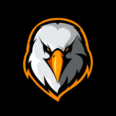 Furious eagle head athletic club vector logo concept isolated on black background.
